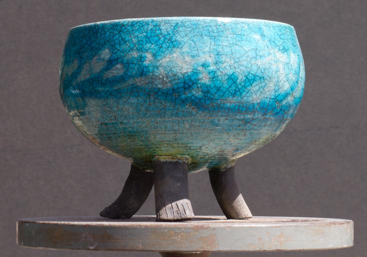 Raku Bowl with legs