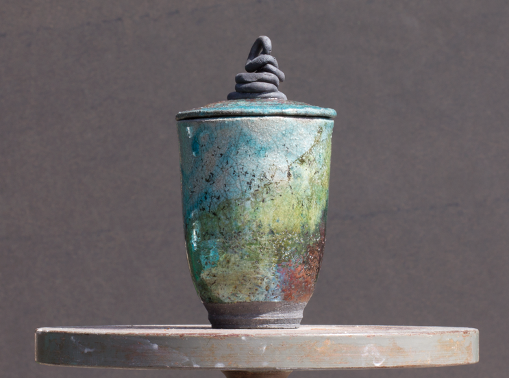 Raku Pot with top
