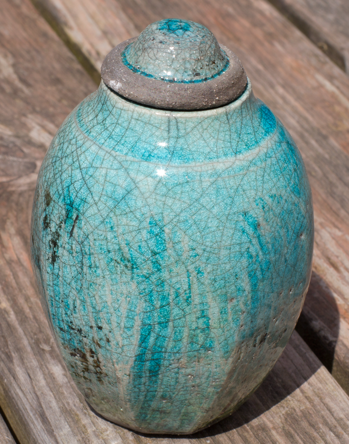 Raku Pot with top - detail